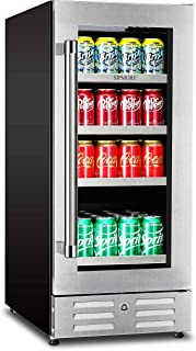 Sipmore Beverage Refrigerator and Cooler - Fit Perfectly into 15 inch Space - Stainless Steel Shelf 88 Can Built-in with Glass Door for Soda Beer, Powerful Drink Machine with Smart Control System