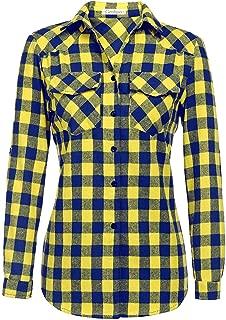 blue and gold plaid shirt womens