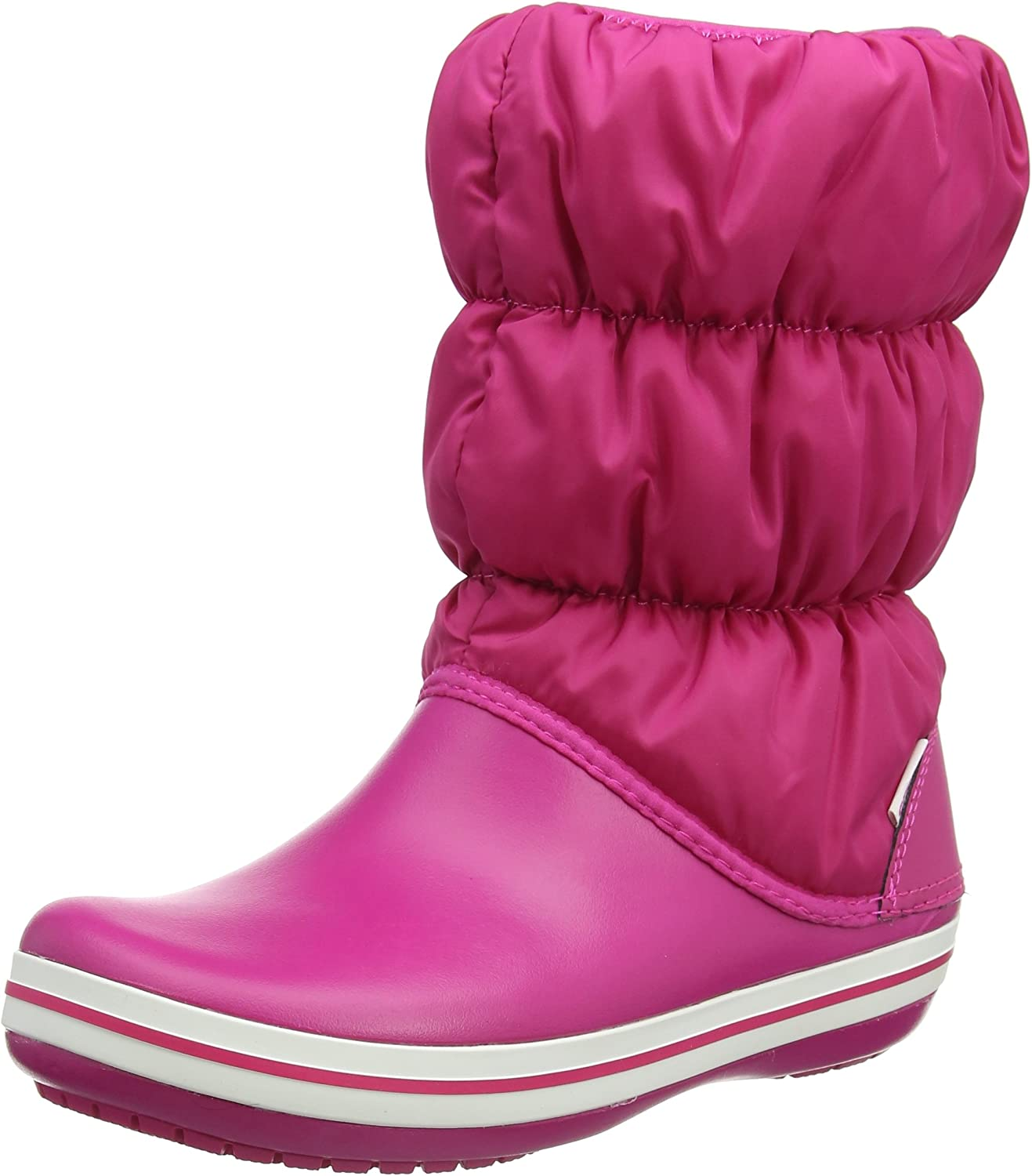 Crocs Women's Winter Puff Nylon Pull On Boot Candy Pink