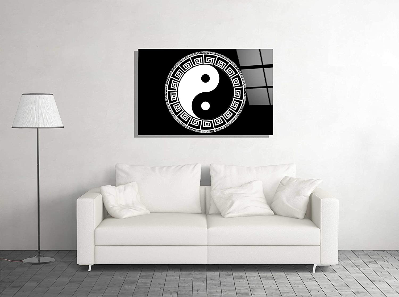 Gorgeous Genericc Yin Yang Black and White Glass Art Home Wall Cheap SALE Start Gift Décor