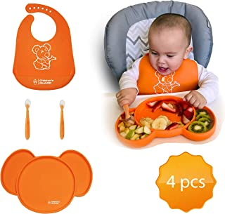 4 PCS Baby Feeding Set -Koala- for Babies and Toddlers Boys & Girls - Includes Waterproof Easy Clean Silicone BIB | Strong Suction Plate & Two Soft Spoons