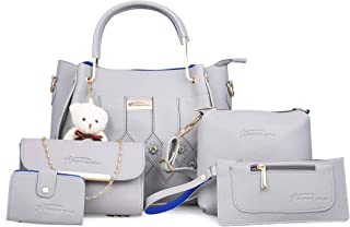 Shining Star Women's Handbag, Sling Bag, Clutch & Card Holder (Set of 5, Grey)