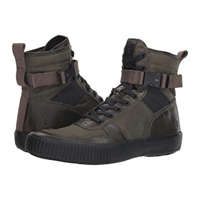 Frye Combat Lace-Up (Olive Multi Antique Pull-Up/Waxy Canvas) Men