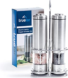 Electric Salt & Pepper Grinder Set by Truelar | Bonus Stand & Gift Box | Stainless Steel, Battery Operated Shakers with LED Lights and Ceramic Grinders