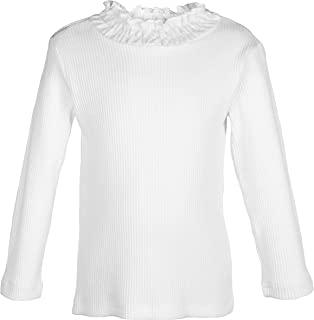 ContiKids Toddler Girls Long Sleeve Cotton Tee Shirts Ruffle Lace Turtleneck Base Blouse Tops