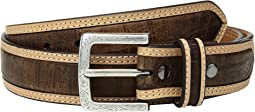 Strap with Croc Print Center Inlay Belt