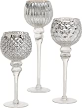 Spectacular Cape Cod Long Stem Candle Holders, 3 Pieces, Silver Mercury Glass, Mix Match Set, Proportioned at 11 3/4, 9 3/...