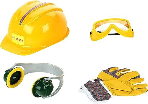 Klein 8537 Set d'accessoires Bosch, 4 pièces   Gants, casque de travail, paire de lunettes de travail et casque anti-...