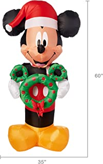 Gemmy Inflatable 6 FT Tall Mickey Mouse with Wreath Indoor/Outdoor Holiday Decoration