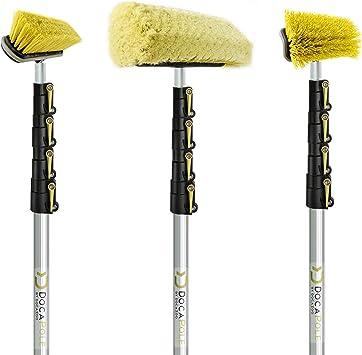 DOCAZOO DocaPole 24 Foot High Reach Brush Kit with 6-24 Foot Extension Pole // Brush Kit Includes 3 Brushes // Soft Bristle Car Wash Brush // Medium Bristle Cleaning Brush // Hard Bristle Deck Brush: image