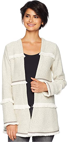 Almost Famous Marled French Terry Jacket with Novelty Fringe Trim