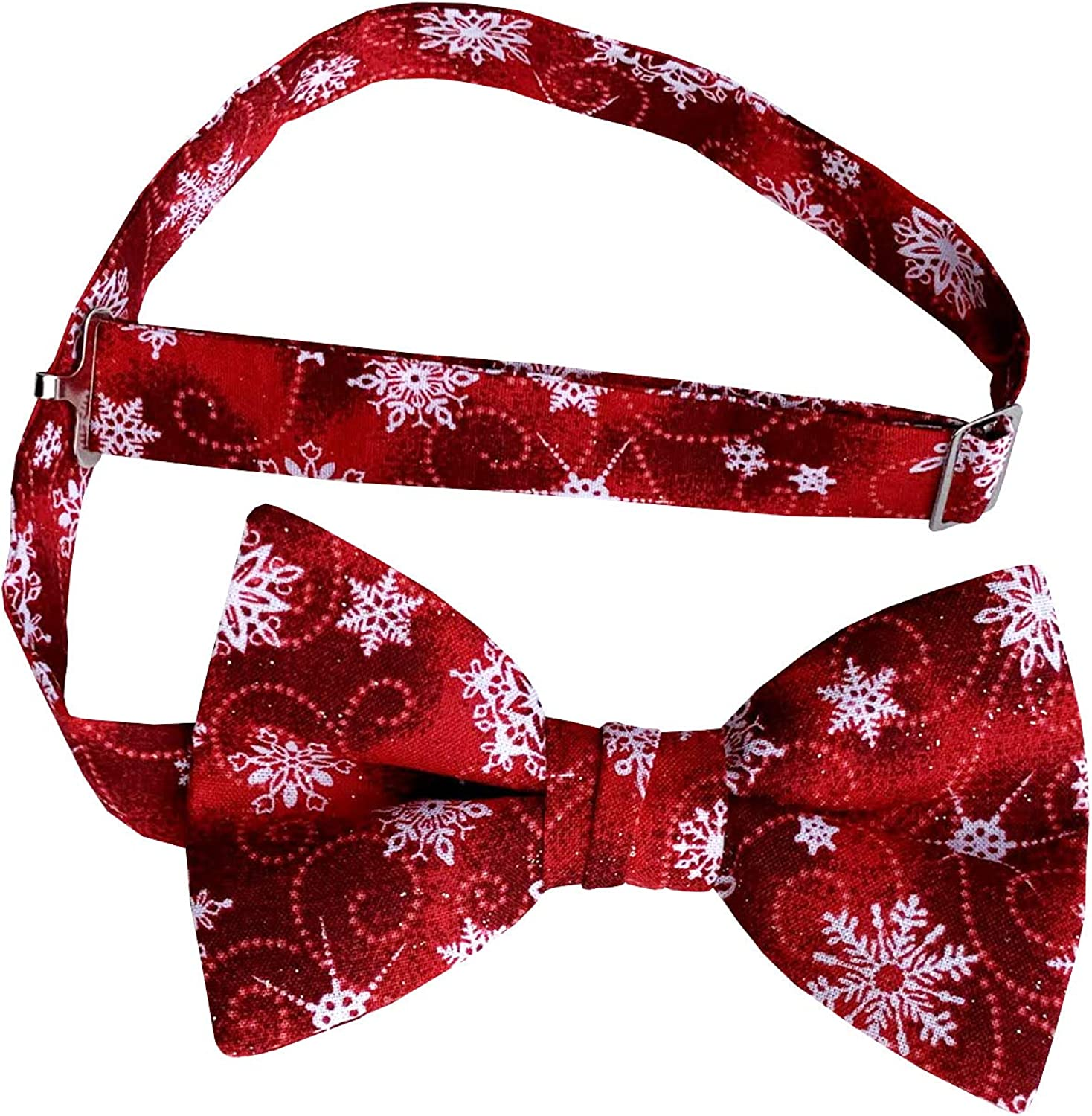 Holiday Bow Ties Mens Pre-tied Bow Tie Red with White Snowflakes Iridescent