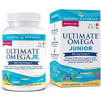 Nordic Naturals Ultimate Omega Jr, Strawberry - 120 Mini Soft Gels - 680 Total Omega-3s with EPA & DHA - Brain Health, Mood, Learning - Non-GMO - 60 Servings