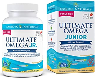 Sponsored Ad - Nordic Naturals Ultimate Omega Jr, Strawberry - 120 Mini Soft Gels - 680 Total Omega-3s with EPA & DHA - Br...