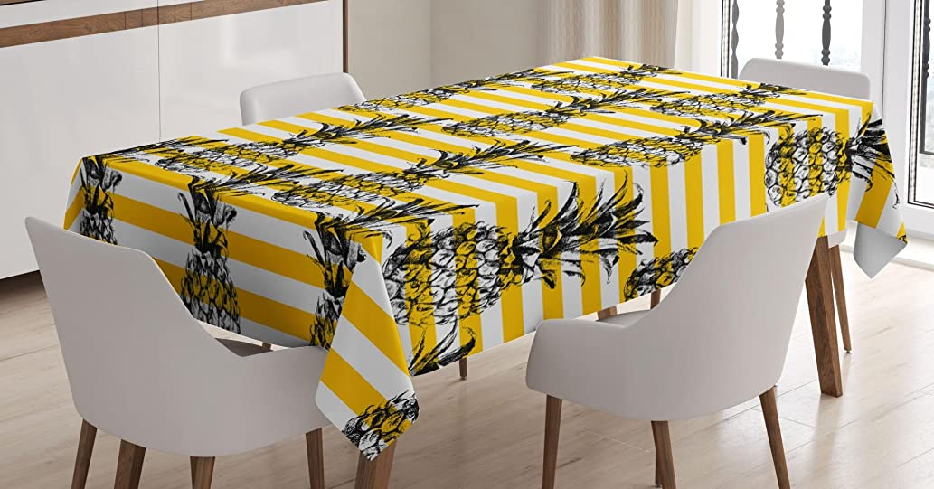 Ambesonne Grunge Decor Tablecloth, Retro Striped Background with Pineapple Figures Vintage Hippie Graphic, Dining Room Kitchen Rectangular Table Cover, 52 X 70 Inches, Yellow White