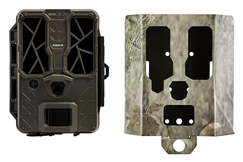 SPYPOINT FORCE-20 Trail Camera (with SB-400 Security Box) 20MP HD Video w/ 42x High Power LEDs & Infrared Boost Tech for Great Night Image, 80' Flash Range, Low Glow Backlit Setup LCD Screen