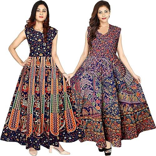 Women s Cotton Jaipuri Printed Maxi Long Dress Combo Multicolour Free Size Pack of 2