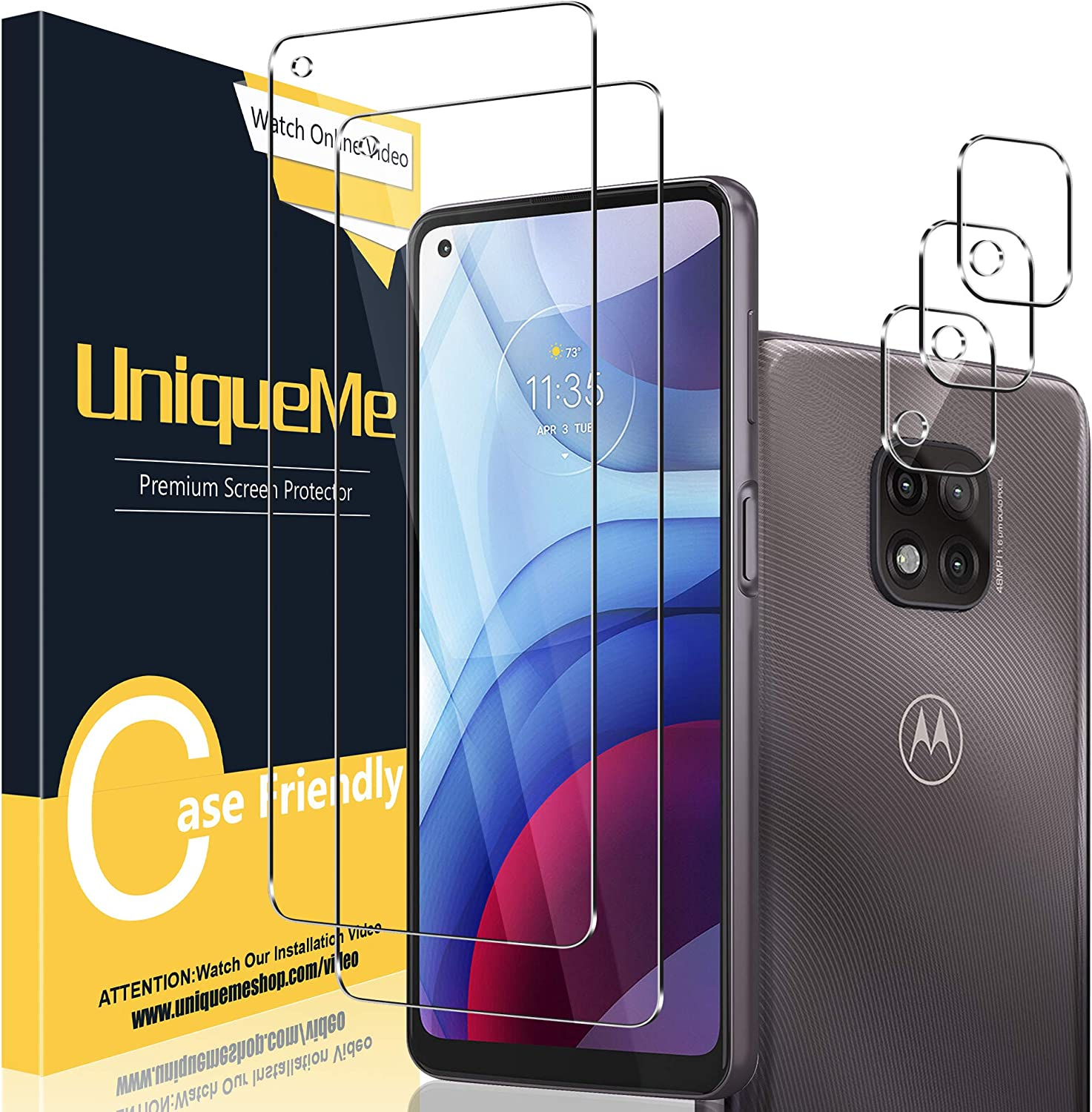 [ 2+3 Pack ] UniqueMe Compatible with Motorola Moto G Power 2021 Tempered Glass + Camera Lens Protector Screen Protector [Easy installation] [HD Clear][9H Hardness][Not for Motorola Moto G Power].
