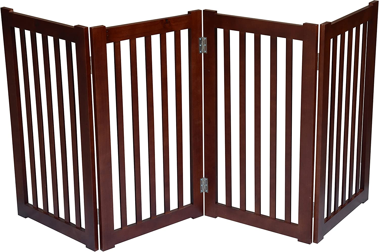 MDOG2 4-Panel Free Standing Pet Gate, 72-Inch Width by 32-Inch Height, Dark Walnut