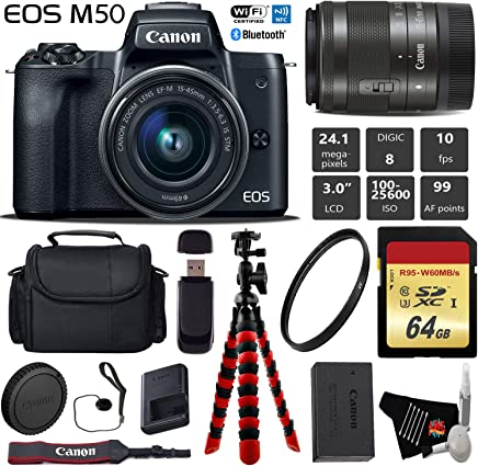 $599 Get Canon EOS M50 Mirrorless Digital Camera with 15-45mm Lens + Flexible Tripod + UV Protection Filter + Professional Case + Card Reader - International Version
