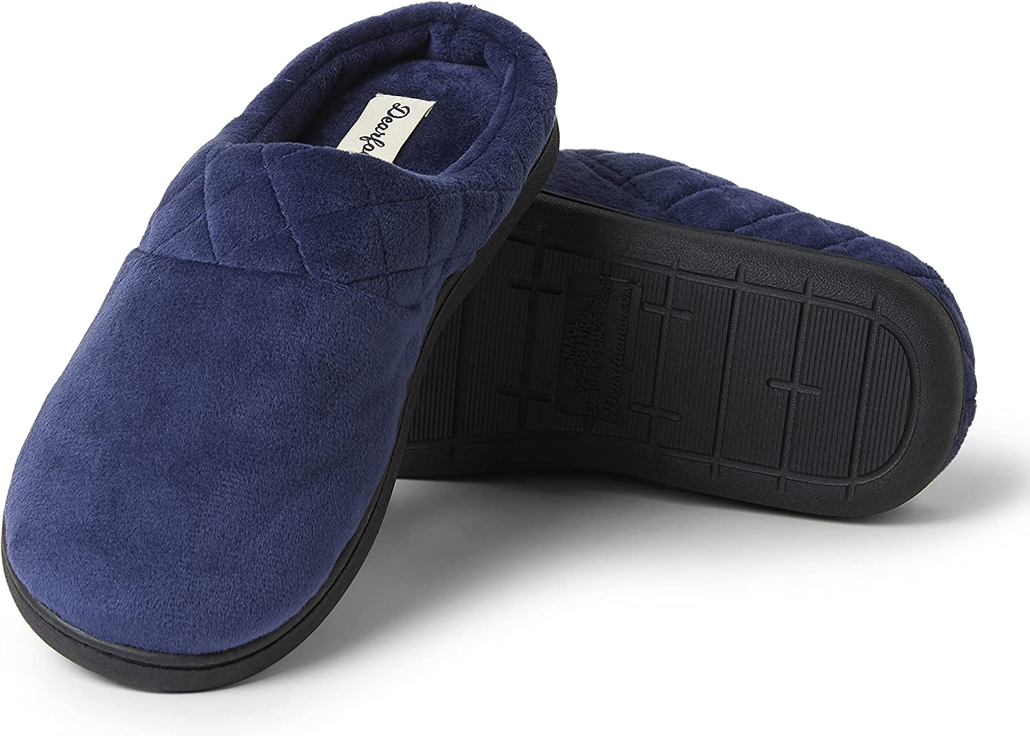 Dearfoams Women's Darcy Microfiber Velour Clog with Quilted Cuff Slipper