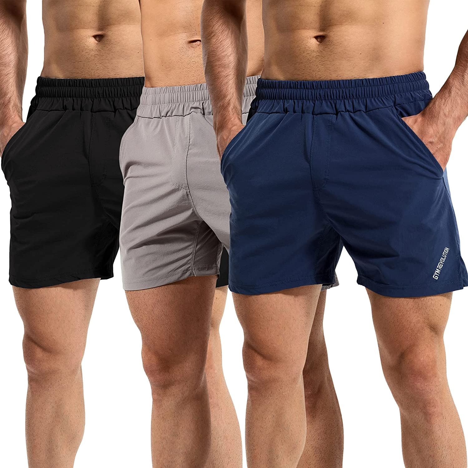 GYM REVOLUTION unisex Los Angeles Mall Men's Workout Athletic T Dry Quick Running Shorts
