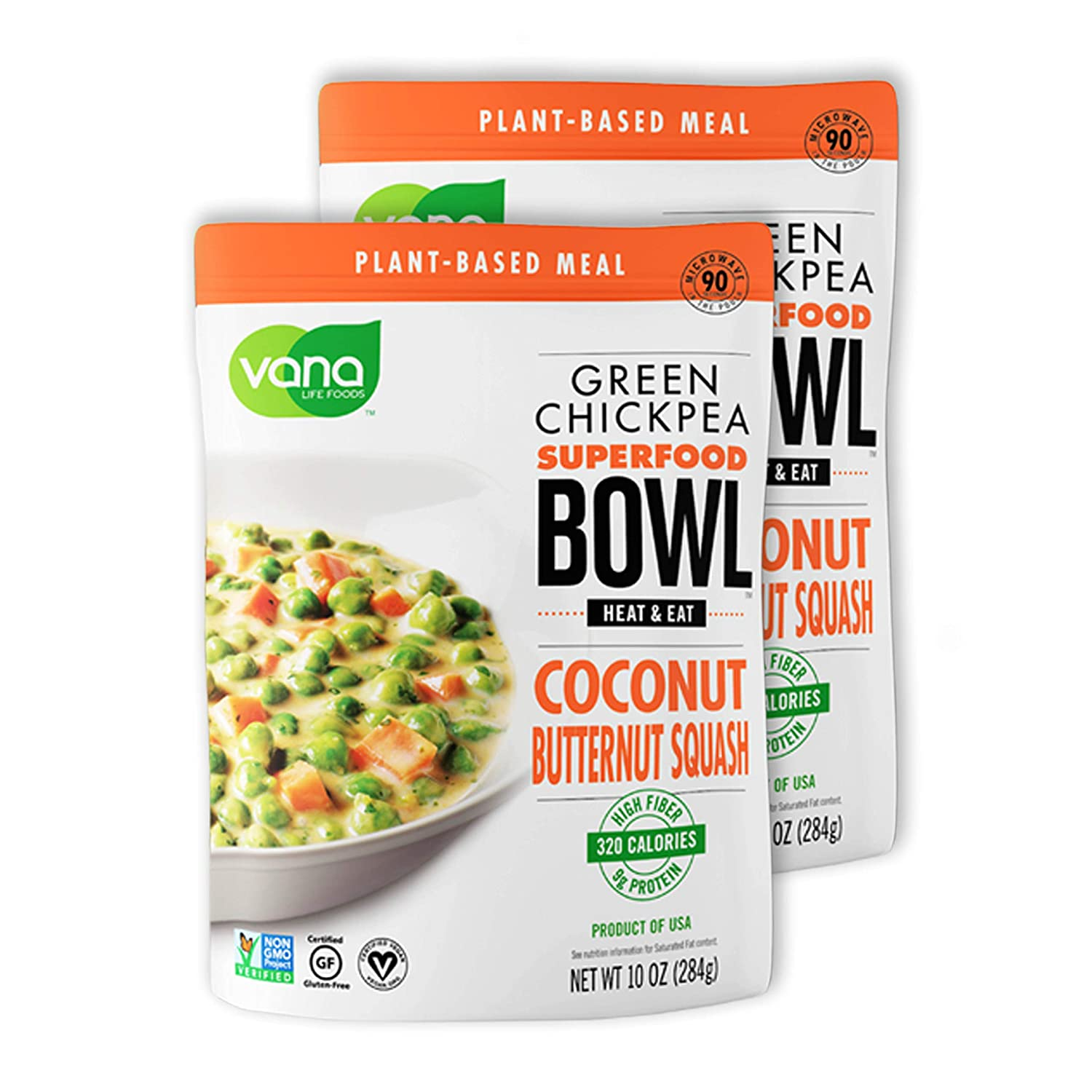 Green Chickpea Superfood Bowl by Vana Life Foods | Vegan Food Meal Kit | Curried Coconut Butternut Squash | Plant Based Meals Ready to Eat | Organic, Non-GMO, Gluten-Free | 2 Pack - 10 Oz Pouches