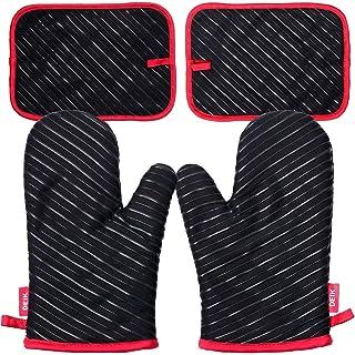 Deik Gants de four et maniques, gants résistant à la chaleur jusqu'à 300 ℃, gants de silicone antidérapants pour gril, ada...