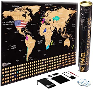 Scratch off World Map Poster, Unique USA Flag, Black Edition Scratch Map, Large Size 24 X 36 Travel Map, US States Outline...