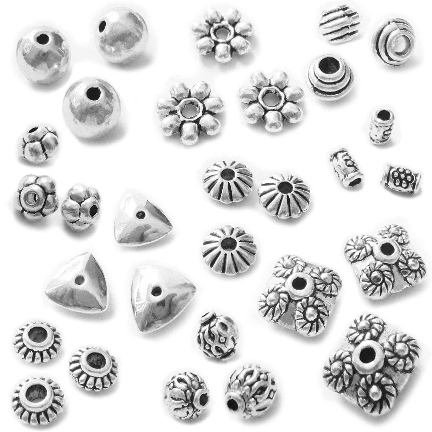 Heather's cf 268 Pieces Silver Beads Bead?spacers Bead?Jewelry Making Supplies
