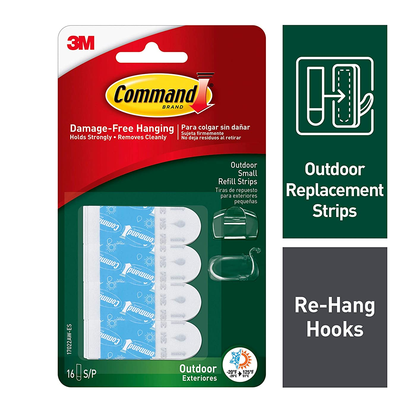 Command Outdoor Replacement Strips, Re-Hang Outdoor Hooks, 16 strips, Water-Resistant Adhesive, Small (17022AW-ES)
