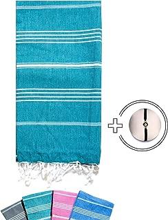 FINDSPOT Peshtemal Turkish Towel - Prewashed,%100 Cotton - (Turquois)