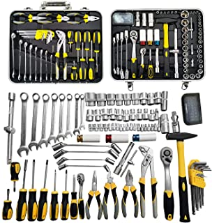 """WZG Werkzeug 116 Piece Chrome Vanadium Socket Wrench Set with Strong Carry Case Including 1/2"""" 1/4"""" Driver with 72-Teeth R..."""