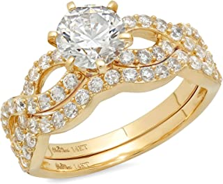 1.60 CT Round Cut CZ Pave Halo Solitaire Designer Ring Band Set 14k Solid Yellow Gold