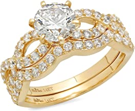 Clara Pucci 1.60 CT Round Cut CZ Pave Halo Solitaire Designer Ring Band Set 14k Solid Yellow Gold