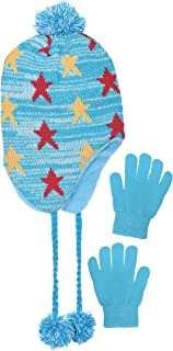 Girls Fleece Lined Knit Pom Beanie & Gloves Set with Warm Ear Flaps for Winter (Turquoise)