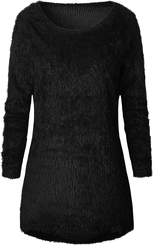 REFAGO Fashion Solid Farbe Long Sleeve Woherren Sweater Top, schwarz