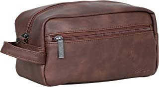 Ben Sherman 150331 Noak Hill Collection Vegan Leather Toiletry Travel Kit, Brown, Single Compartment