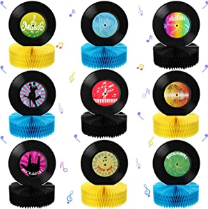 9 Pieces Record Honeycomb Centerpieces Table Topper Rock and Roll Music Party Decorations and Supplies Table Paper Centerpieces 3D Record Retro Table Decor