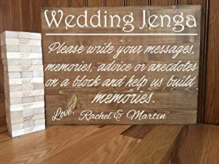CELYCASY Jenga Wedding Guest Book/Jenga Wedding Sign/Rustic Wedding/Wedding Decor/Wedding Guestbook/Alternative Wedding Guestbook/Jenga Guestbook