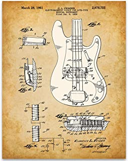 1961 Fender Precision Bass Guitar Poster Patent - 11x14 Unframed Patent Print - Great Gift Under $15 for Guitar Players