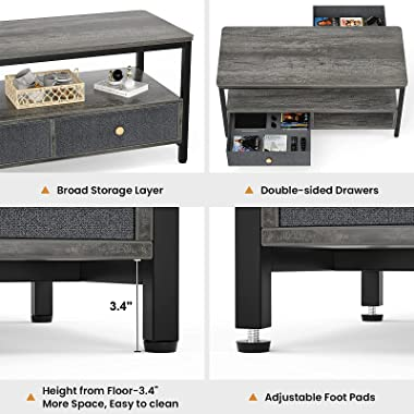 Armocity Coffee Table with Storage Drawers, Modern Coffee Table for Living Room, Center Table for Living Room with Double Sto