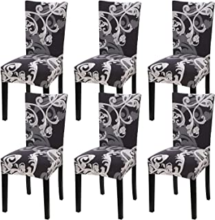 Fuloon Super Fit Stretch Jacquard Removable Washable Short Dining Chair Covers Seat Slipcover for Hotel,Dining Room,Ceremony,Banquet Wedding Party (6, BB)