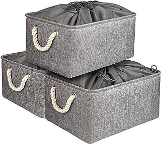 AivaToba Boîte de Rangement avec Cordons Fermés, Grand Panier de Rangement Pliable 3 Pièces avec Poignées, Organisateur de...