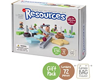 Taksa Toys Resources Gift Pack 72 Pcs. – Alternative Educational Building Blocks Set / Creative Construction Toys for Kids / Nature Inspired Montessori Balancing and Stacking Blocks.