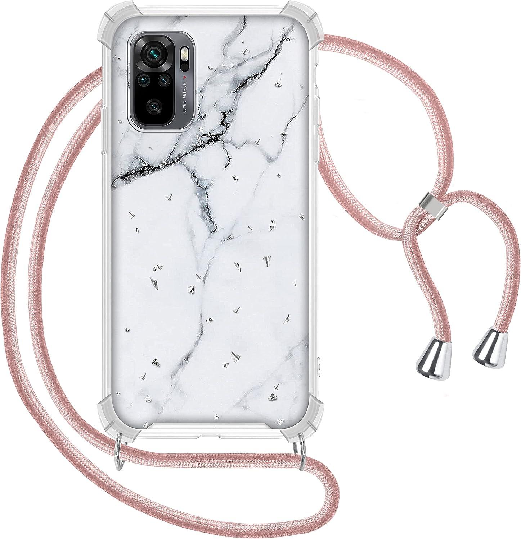 Funda con Cuerda para Xiaomi Redmi Note 10 4G/Redmi Note 10S, Glitter Carcasa Mármol Brillante Ultrafina Rígida PC con Correa Colgante Ajustable Collar de Cuello Cadena Cordón, Marmol Blanco, Oro Rosa
