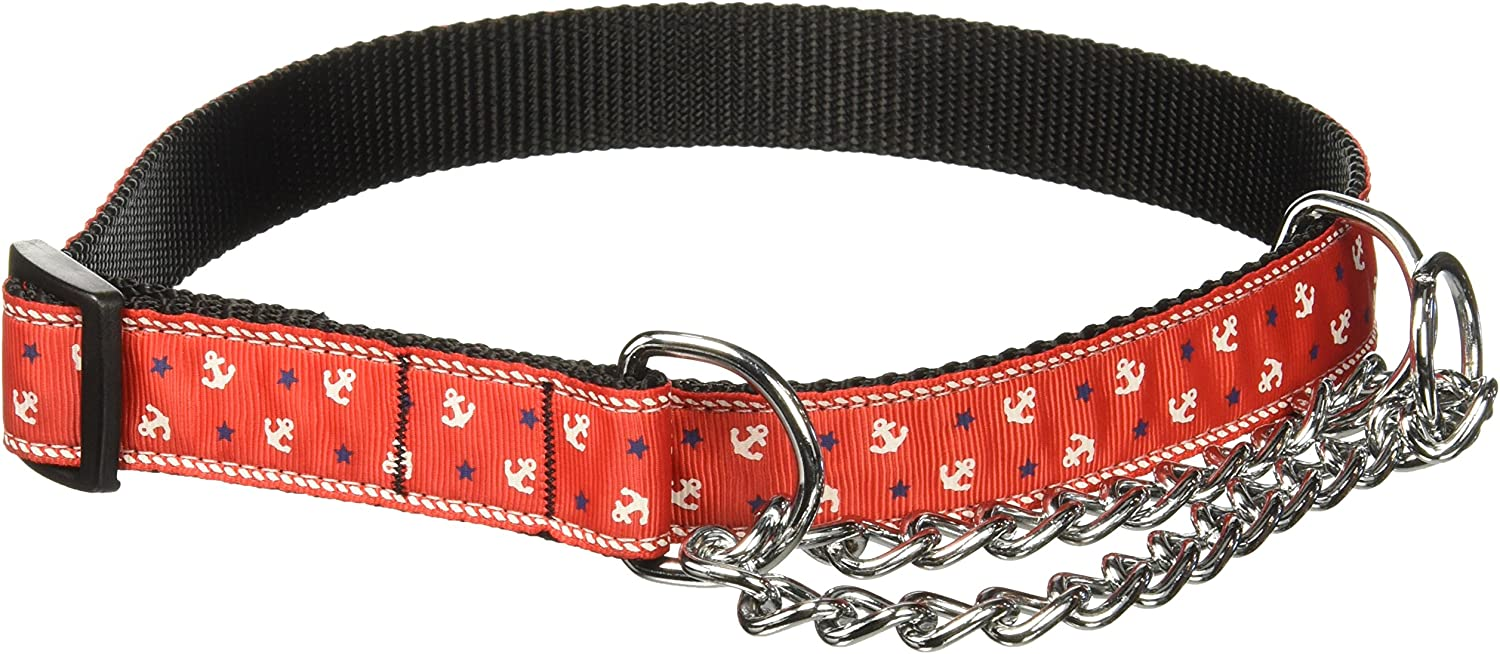 Mirage Pet Products Anchors Nylon Ribbon Martingale Collar for Pets, Large, Red