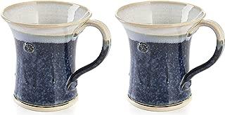 CASTLE ARCH POTTERY Handmade Irish Coffee Tea & Beer Mugs. Set of Two Hand-Thrown Cups (Hampton Blue)