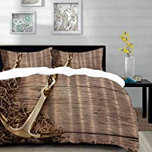 Duvet Cover Set,Brownish Rustic with Gold Nautical Anchor and Fishing Net on Wooden Background Sand Gifts for Fisherman Him Seaside s Sea Ocean Beach Themed Brown Theme Image,Brown,Queen/Full Size Dec
