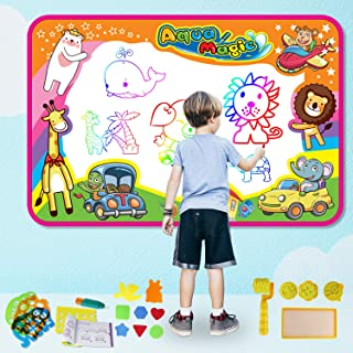 feiboo Aqua Magic Doodle Mat, Kids Drawing Painting Doodle Board 4 Magic Water Pens Alphabet/Arabic Numbers Drawing Molds Drawing Booklet Neon Colors Ages 2+ Toddlers